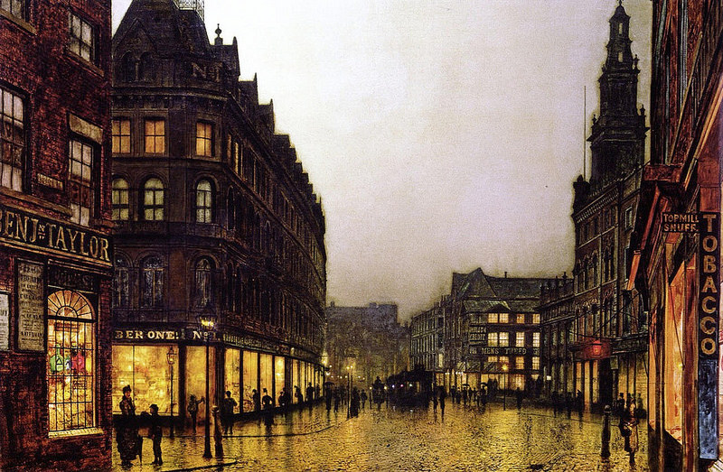 John Atkinson Grimshaw - Boar Lane, Leeds by Lamplight