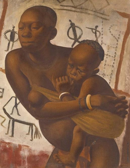 Alexandre Jacovleff- Banda Woman with a Child