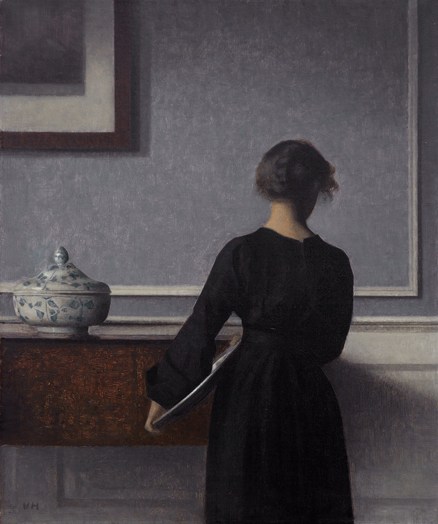 Vilhelm Hammershøi – Interior with Young Woman from Behind