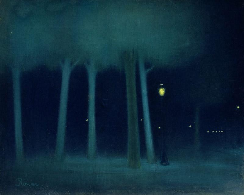 Jozsef Rippl-Ronai - A Park at Night