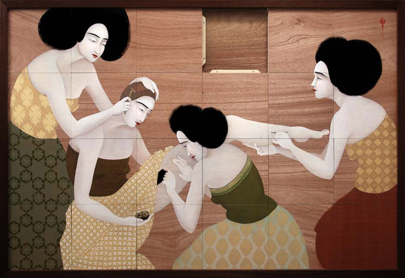 Hayv Kahraman - Appearance of Control (2010), oil on mobile panels