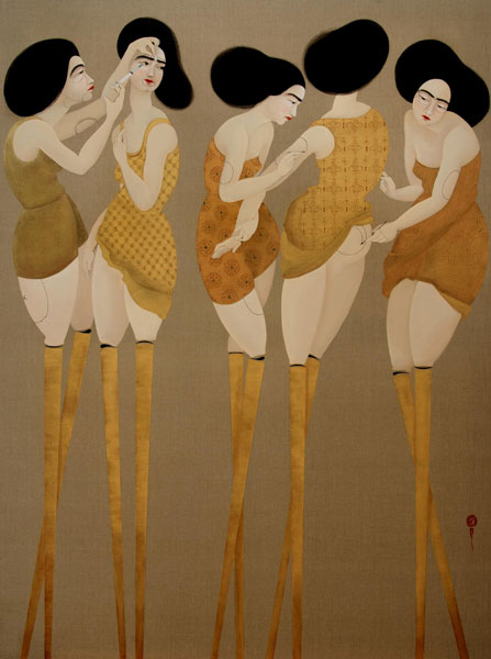 Hayv Kahraman - Levelled Leisure (2010), oil on linen