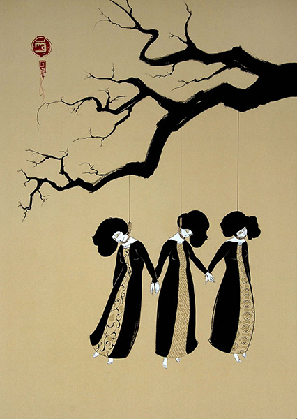 Hayv Kahraman - Three Women Hanging (2008), sumi on paper