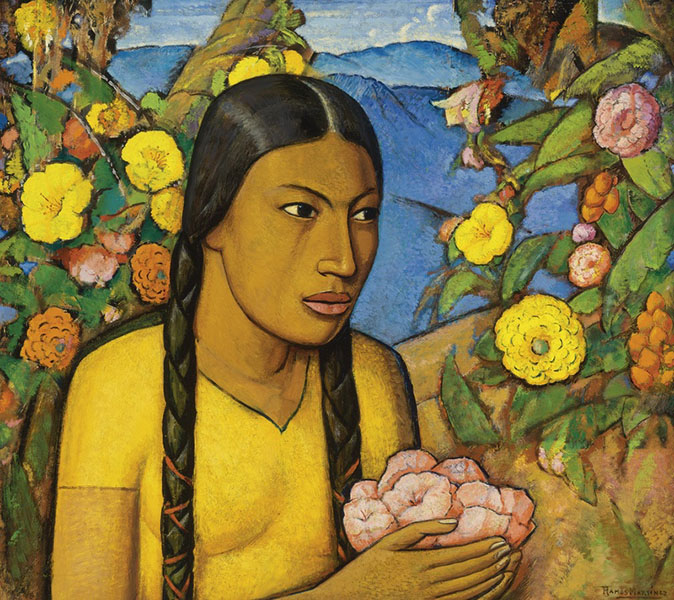 Alfredo Ramos Martinez - Juanita Amongst the Flowers