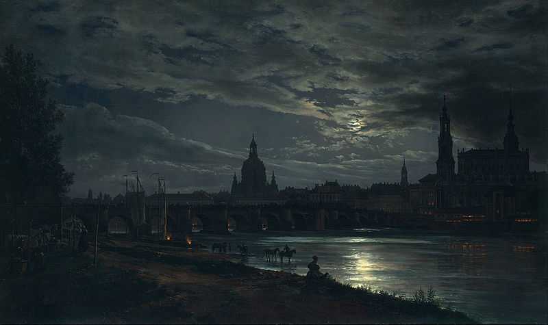 Johan Christian Dahl - View of Dresden by Moonlight (1839)