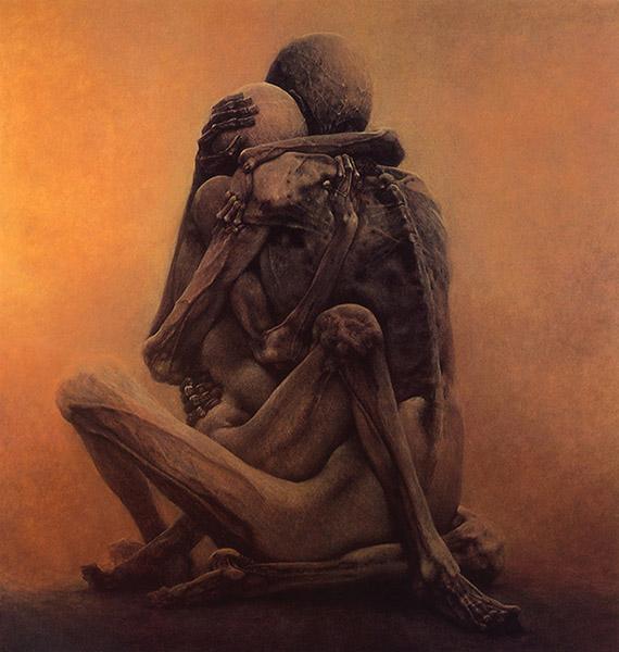 beksinski skeletons embracing