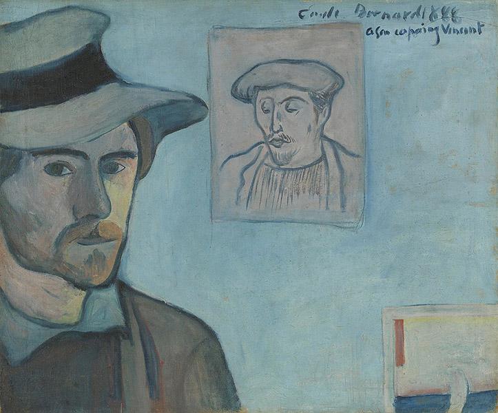 Emile Bernard - Self-Portrait with Portrait of Gauguin