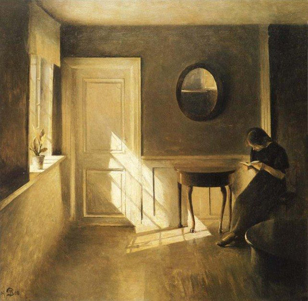 Peter Vilhelm Ilsted - Interior with Girl Reading