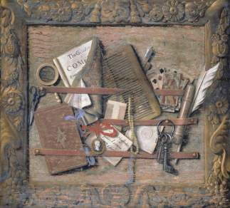 Samuel van Hoogstraten - Letter Rack with Play by Cowley and Letter Addressed to van Hoogstraten (1662 - 1663), oil on panel