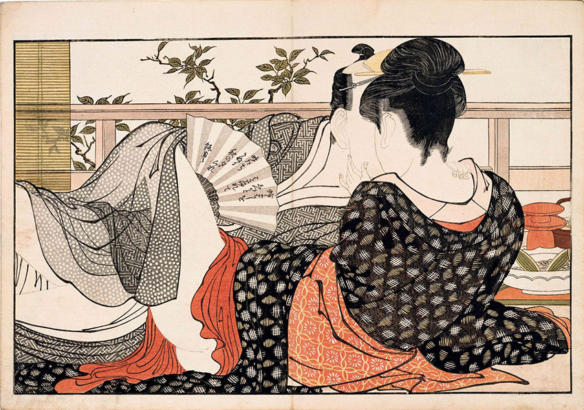 Kitagawa Utamaro - Lovers in the Upstairs Room of a Teahouse