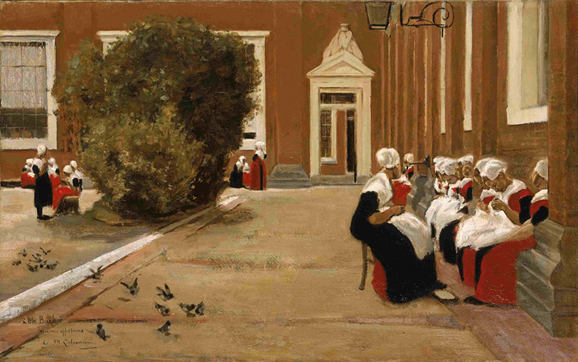 Max Liebermann - Courtyard of the Orphanage in Amsterdam 1876