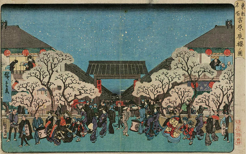 Utagawa Hiroshige - Cherry Blossoms at Night in the Yoshiwara