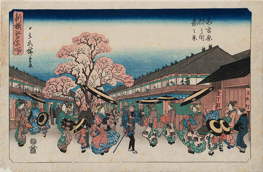 Utagawa Hiroshige - Spring Scene at Naka-no-chô in the New Yoshiwara