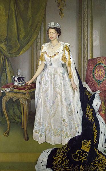 Sir Herbert James Gunn - Queen Elizabeth II in Coronation Robes
