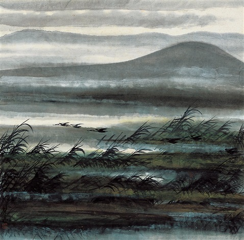 Lin Fengmian - Reeds and Wild Geese