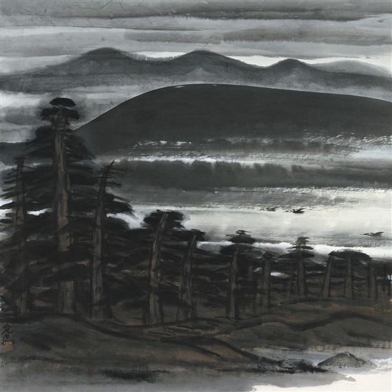 Lin Fengmian - Wild Geese by the Pine Landscape