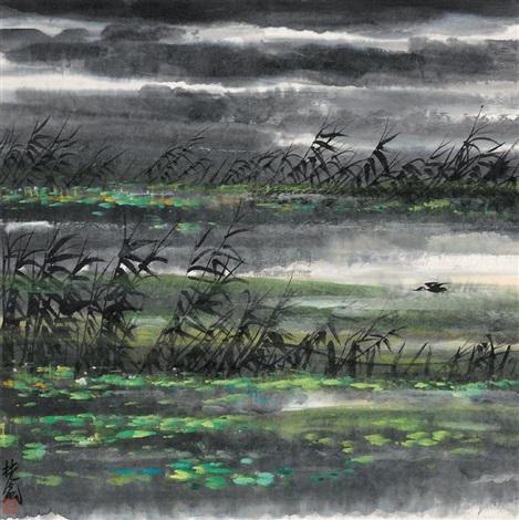 Lin Fengmian - Wild Goose Flying Across Lotus Pond